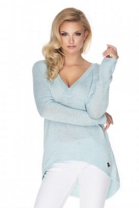 Modrý voľný sveter s hlbokým výstrihom model 135309 Pb