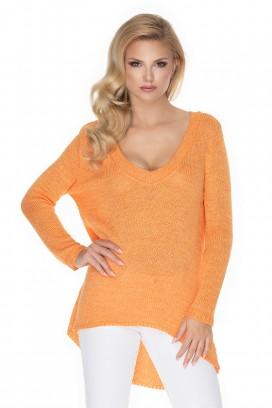 Oranžový voľný sveter model 135310 Pb