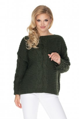 Zelený sveter s vrkočovým vzorom model 135314 Pb
