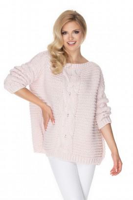 Ružový sveter s vrkočovým vzorom model 135316 Pb