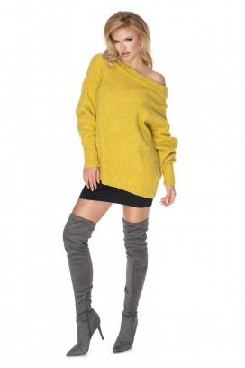Žltý voľný sveter model 135317 Pb