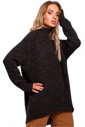 Tmavošedý voľný sveter so stojačikom model 135440 Me