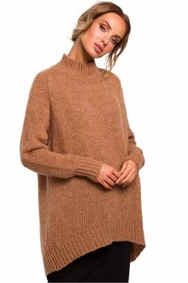 Béžový voľný sveter so stojačikom model 135441 Me