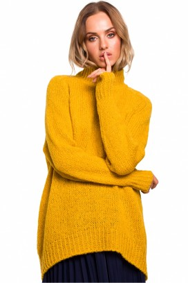Žltý voľný sveter so stojačikom model 135442 Me