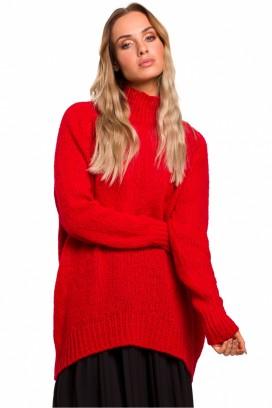 Červený voľný sveter so stojačikom model 135444 Me