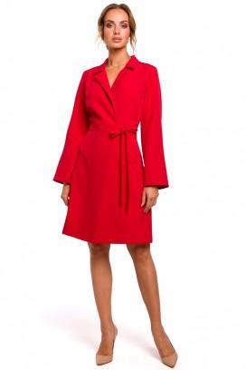 Krátke červené zavinovacie šaty s opaskom a dlhými rukávmi model 135463 mE