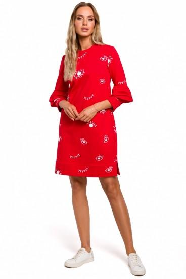 Krátke červené voľné šaty s bielou potlačou model 135523 mE