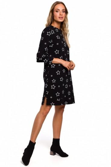 Krátke čierne voľné šaty s bielou potlačou model 135526 mE