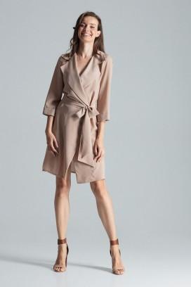 Krátke béžové zavinovacie šaty s opaskom a 3/4 rukávom model 135762 fl