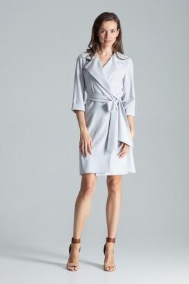 Krátke šedé zavinovacie šaty s opaskom a 3/4 rukávom model 135764 fl