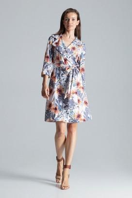 Krátke kvietkované zavinovacie šaty s opaskom a 3/4 rukávom model 135766 fl