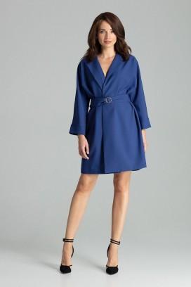Krátke modré zavinovacie šaty s opaskom a 3/4 rukávom model 135876 lf