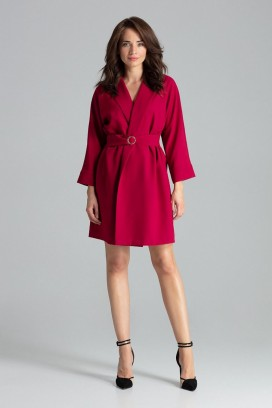 Krátke červené zavinovacie šaty s opaskom a 3/4 rukávom model 135878 lf