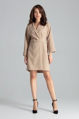 Krátke béžové zavinovacie šaty s opaskom a 3/4 rukávom model 135879 lf