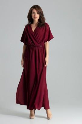Dlhé bordové šaty s prekladaným dekoltom a rozparkom model 135890 lf