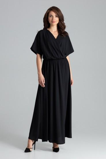 Dlhé čierne šaty s prekladaným dekoltom a rozparkom model 135891 lf