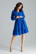 Krátke modré šaty s opaskom, prekladaným dekoltom a volánikom model 135898 lf