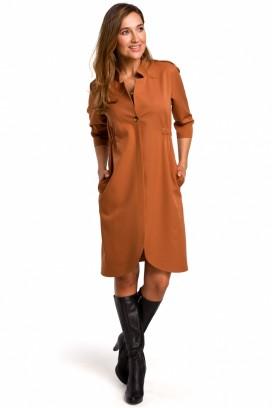 Krátke béžové košeľové šaty s 3/4 rukávom model 135947 se
