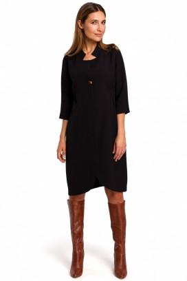 Krátke čierne košeľové šaty s 3/4 rukávom model 135948 se