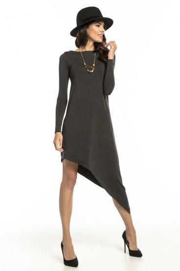 Krátke tmavošedé asymetrické voľné šaty s dlhými rukávmi model 136195 ta