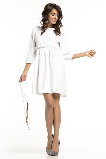 Krátke voľné biele šaty s nariasenou sukňou model 136282 ta