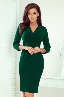 237-3 Krátke zelené púzdrové šaty