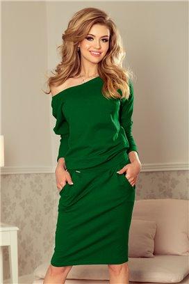 189-3 1 Krátke zelené šaty s vreckami a dlhými rukávmi
