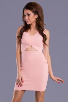 Krátke ružové púzdrové šaty s výstrihom na páse model 43084 YS