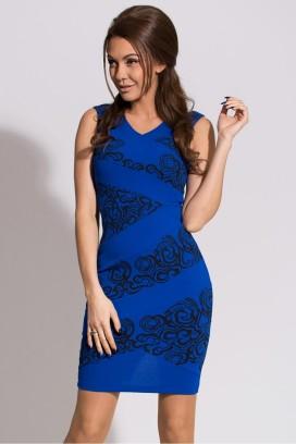 Krátke modro-čierne úzke šaty bez rukávov model 48103 YS