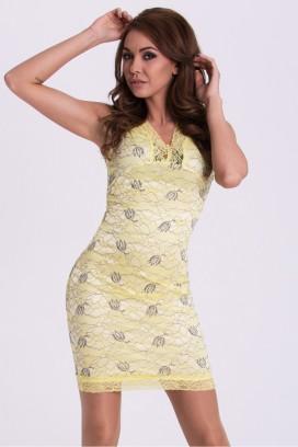 Krátke žlté šaty s potlačou a čipkou model 59194 YS