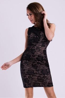 Čierne čipkované úzke koktejlové šaty model 59249 YS