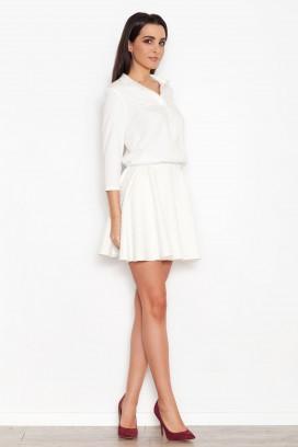 Krátke biele šaty s nariasenou sukňou model 44713 KS