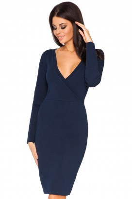 Krátke tmavomodré púzdrové šaty v výstrihom a dlhým rukávom model 44346 TA