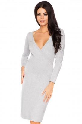 Krátke šedé úzke šaty v výstrihom a dlhým rukávom model 44349 TA