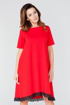 Krátke červené šaty s čipkou a krátkym rukávom model 51725 TA