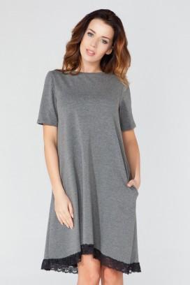 Krátke šedé šaty s čipkou a krátkym rukávom model 51729 TA