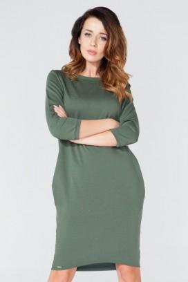 Krátke zelené púzdrové šaty s dlhým rukávom model 51744 TA
