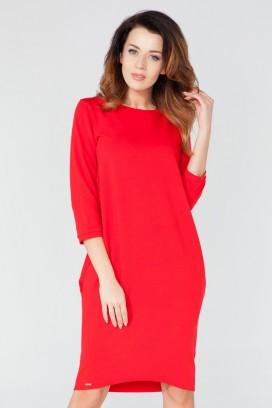 Krátke červené púzdrové šaty s dlhým rukávom model 51745 TA