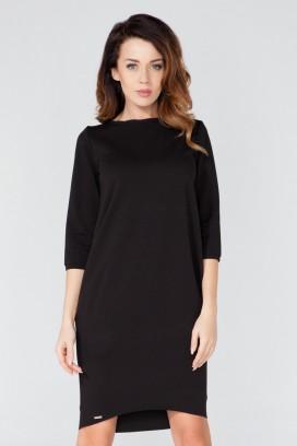 Krátke čierne voľné šaty s dlhým rukávom model 51747 TA
