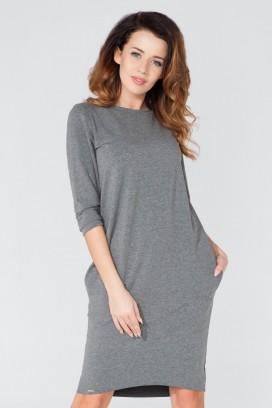 Krátke šedé púzdrové šaty s dlhým rukávom model 51748 TA