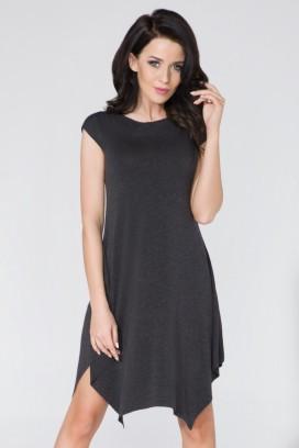 Krátke tmavošedé asymetrické šaty bez rukávov model 58977 TA