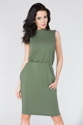 Krátke zelené púzdrové šaty s vreckami model 58992 TA