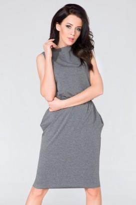 Krátke šedé púzdrové šaty s vreckami model 58995 TA