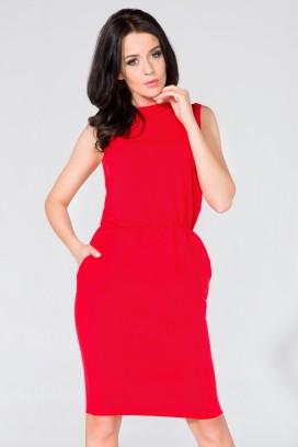 Krátke červené púzdrové šaty s vreckami model 58996 TA