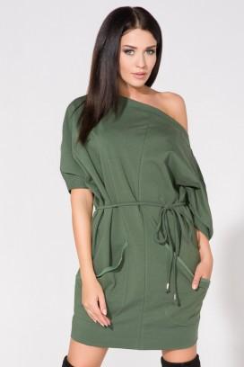 Krátke zelené šaty s vreckami a opaskom model 61690 TA