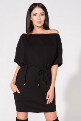 Krátke čierne šaty s vreckami a opaskom model 61691 TA