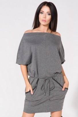 Krátke šedé šaty s vreckami a opaskom model 61693 TA