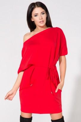 Krátke červené šaty s vreckami a opaskom model 61694 TA