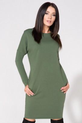 Krátke zelené púzdrové šaty s vreckami model 61711 TA