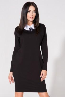 Krátke čierne púzdrové šaty s vreckam a bielym límcom model 61712 TA